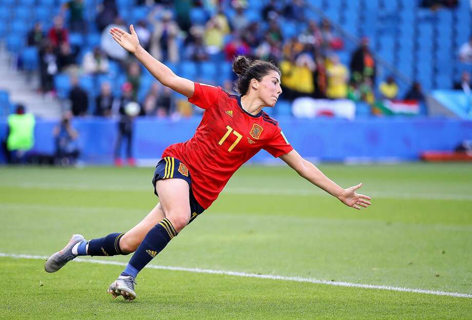 Spain's Lucia Garcia celebrates after scoring in the 89th minute of her team's 3-1 win over South Africa on Saturday in a Group B match at Stade Oceane in Le Havre, France. Photo: Alex Grimm / Getty Images