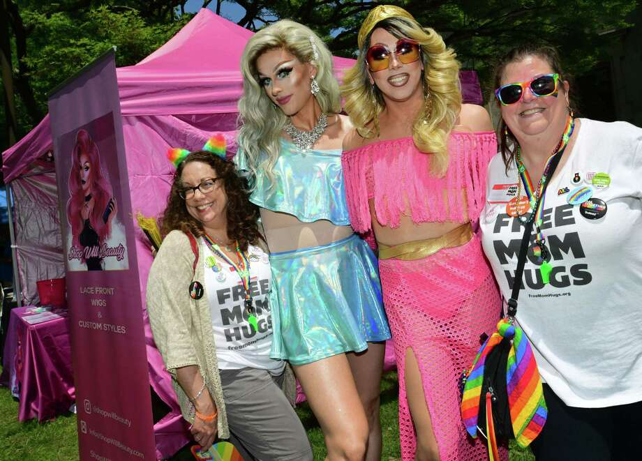 Ellen Hart, far left, and Sharon Scalfani, far right, pose with Will Beauty and Sylvia Heart during the annual Fairfield County Pride in the Park on Saturday at Lockwood Mathews Park in Norwalk. The event featured live music, performances, and services to celebrate the LGBTQ community. June is LGBTQ Pride Month. Photo: Erik Trautmann / Hearst Connecticut Media / Norwalk Hour