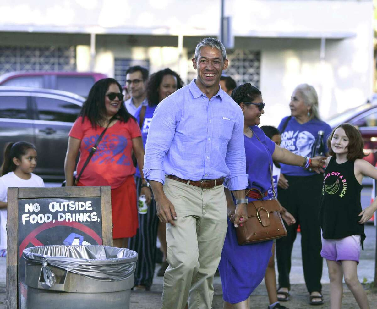Incumbent San Antonio Mayor Ron Nirenberg for his election night watch party at The Friendly Spot on Saturday, June 8, 2019.