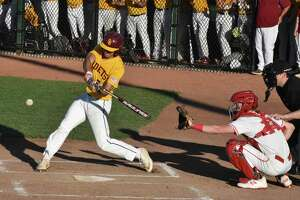 St. Joseph's Stephen Paolini hits a home run in the Class M state championship game at Palmer Field, Middletown on Saturday, June 8, 2019. (Pete Paguaga, Hearst Connecticut Media)