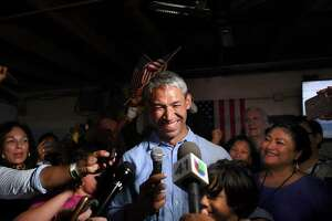 Incumbent Mayor Ron Nirenberg and supporters celebrate his re-election last weekend. Some will say he lacks a mandate for his big policies and ideas. But big ideas are what put him in office.