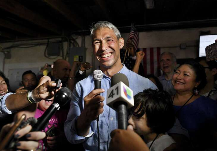 Incumbent San Antonio Mayor Ron Nirenberg smiles he speaks at The Friendly Spot to supporters after winning re-election against challenger Greg Brockhouse on Saturday, June 8, 2019.