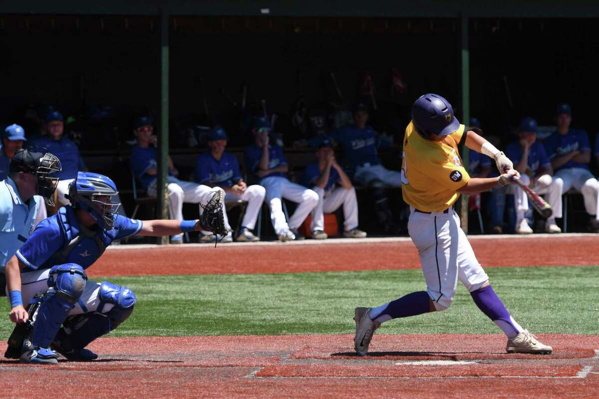Ballston Spa's Mike Poirier hits the ball during the Class A State Quarterfinal against Whitesboro on Saturday, Jun. 8, 2019 in Amsterdam, N.Y. (Jenn March, Special to the Times Union )