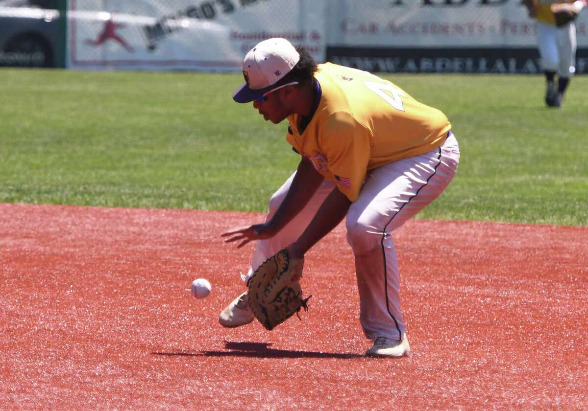Ballston Spa first baseman Donovan Rhoden scoops up a ground ball hit during the Class A State Quarterfinal against Whitesboro on Saturday, Jun. 8, 2019 in Amsterdam, N.Y. (Jenn March, Special to the Times Union )