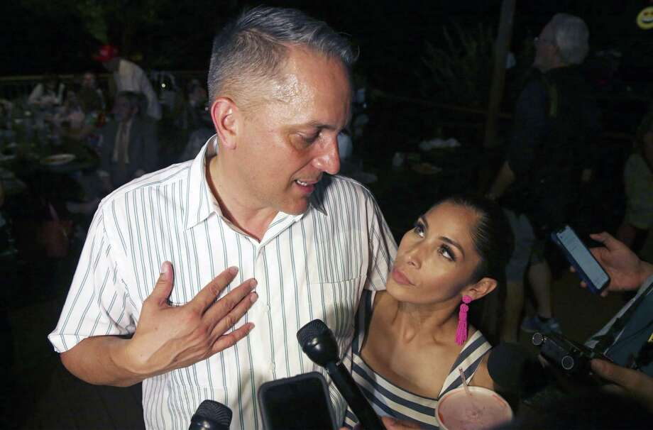 Greg and Annalisa Brockhouse at the Brockhouse election night party at Violas Ventanas on June 8. The couple now says Annalisa Brockhouse filed a false police report and a 2009 domestic violence incident didn't happen. But evasions during the campaign make it difficult to know what to believe. Photo: Tom Reel / 2019 SAN ANTONIO EXPRESS-NEWS