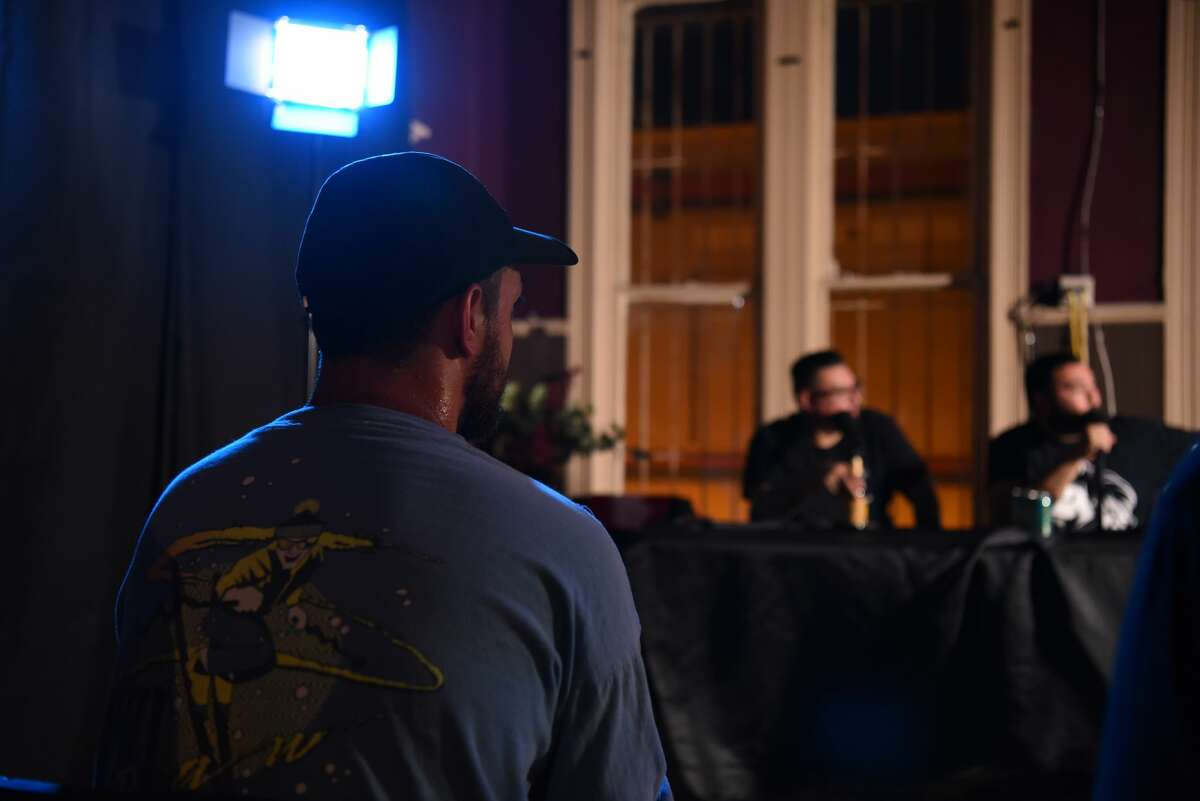 Attendees of the first live episode of the AliensOnTheBorder podcast enjoyed the conversations by the hosts, as well as a performance by Innocent Android at Boogaloo the Rooms, Friday, June 7, 2019.