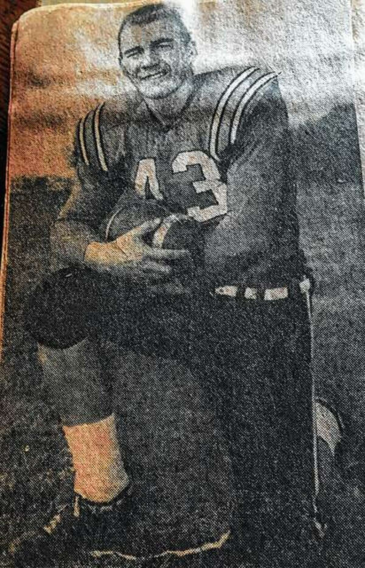 """Robert """"Bob"""" Poncar was a halfback, fullback and linebacker on the Illinois School for the Deaf's football team in the late 1950s and early '60s."""