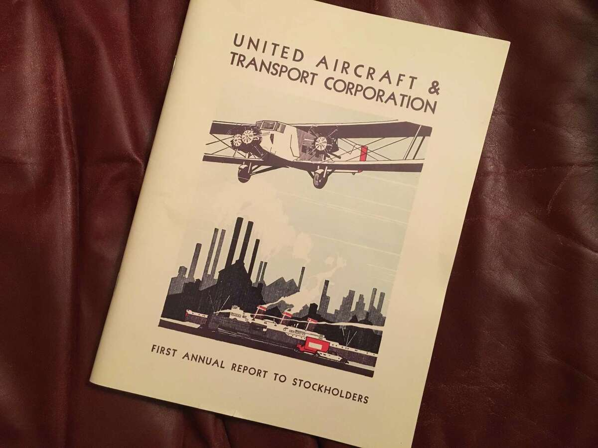 The first annual report of United Aircraft & Transport Corp. in 1930 heralded a business juggernaut that included Pratt & Whitney, Boeing, Sikorsky and the transporters that became United Air Lines. It was later broken up by the government. UA became United Technologies Corp. in 1975. Pictured here is a 1995 reproduction of the original report to shareholders. UTC, based in Farmington, could merge with Waltham, Mass.-based Raytheon Co., according to reports saying the deal could be announced as soon as Monday, June 10, 2019.