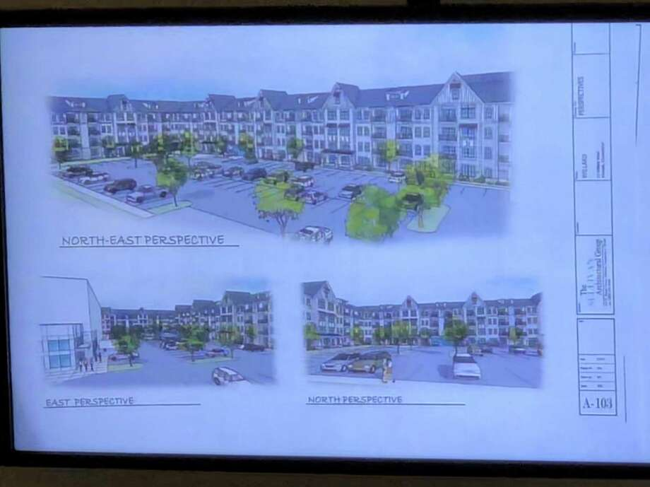 Proposed renderings for the former Frontier site on Willard Avenue were unveiled at the Zoning Commission on Thursday June, 7, 2019. Photo: Kelly Kultys / Hearst Connecticut Media /