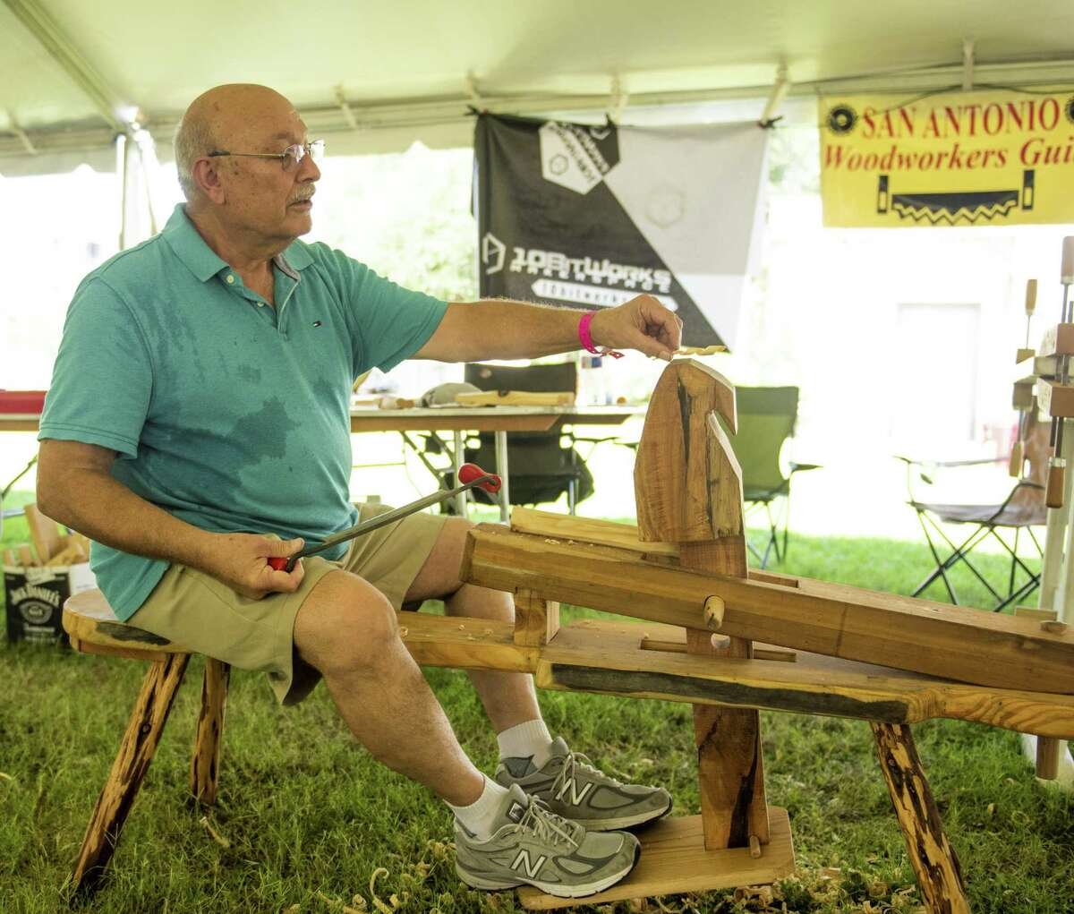 Woodworkers' Guild member Jesse Jenkins demonstrates woodworking techniques during the 48th Texas Folklife Festival on Sunday, June 9, 2019 at the UTSA Institute of Texan Cultures.