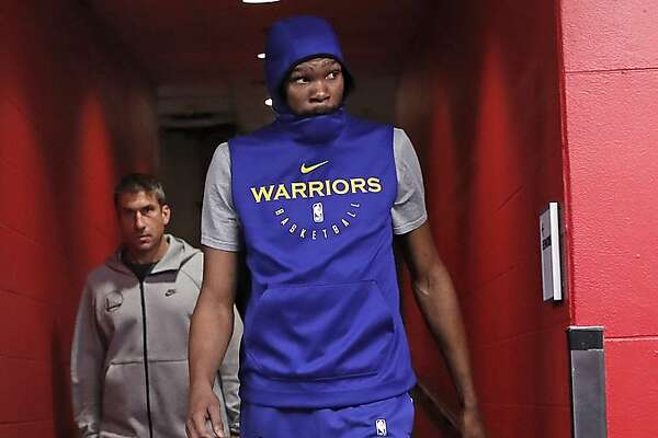 Golden State Warriors' Kevin Durant heads to the court during practice day in advance of NBA Finals' Game 5 at Scotiabank Arena in Toronto, Ontario, on Sunday, June 9, 2019.