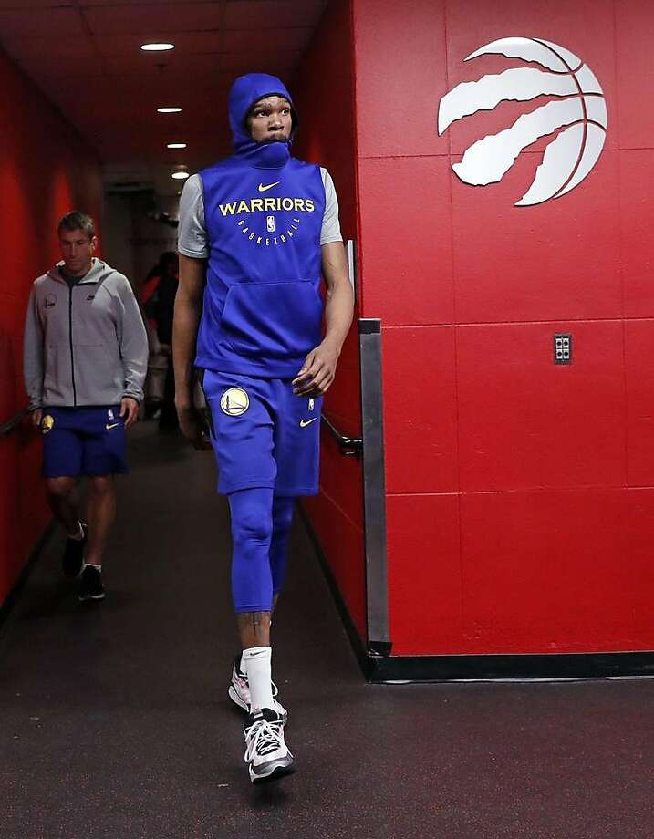 Golden State Warriors' Kevin Durant heads to the court during practice day in advance of NBA Finals' Game 5 at Scotiabank Arena in Toronto, Ontario, on Sunday, June 9, 2019. Photo: Scott Strazzante, The Chronicle