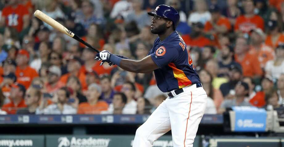 Houston Astros designated hitter Yordan Alvarez (44) hits his first home run in his second at bat during the fourth inning of an MLB game at Minute Maid Park, Sunday, June 9, 2019, in Houston. Photo: Karen Warren/Staff Photographer