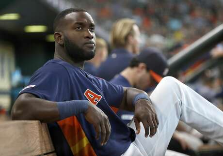 Houston Astros designated hitter Yordan Alvarez (44) sits in the dugout during the third inning of an MLB game at Minute Maid Park, Sunday, June 9, 2019, in Houston.