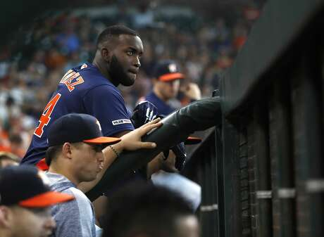 Houston Astros designated hitter Yordan Alvarez (44) in the dugout during the first inning of an MLB game at Minute Maid Park, Sunday, June 9, 2019, in Houston.