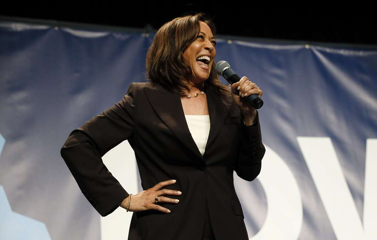 FILE PHOTO: Democratic presidential candidate Kamala Harris speaks during the Iowa Democratic Party's Hall of Fame Celebration, Sunday, June 9, 2019, in Cedar Rapids, Iowa.