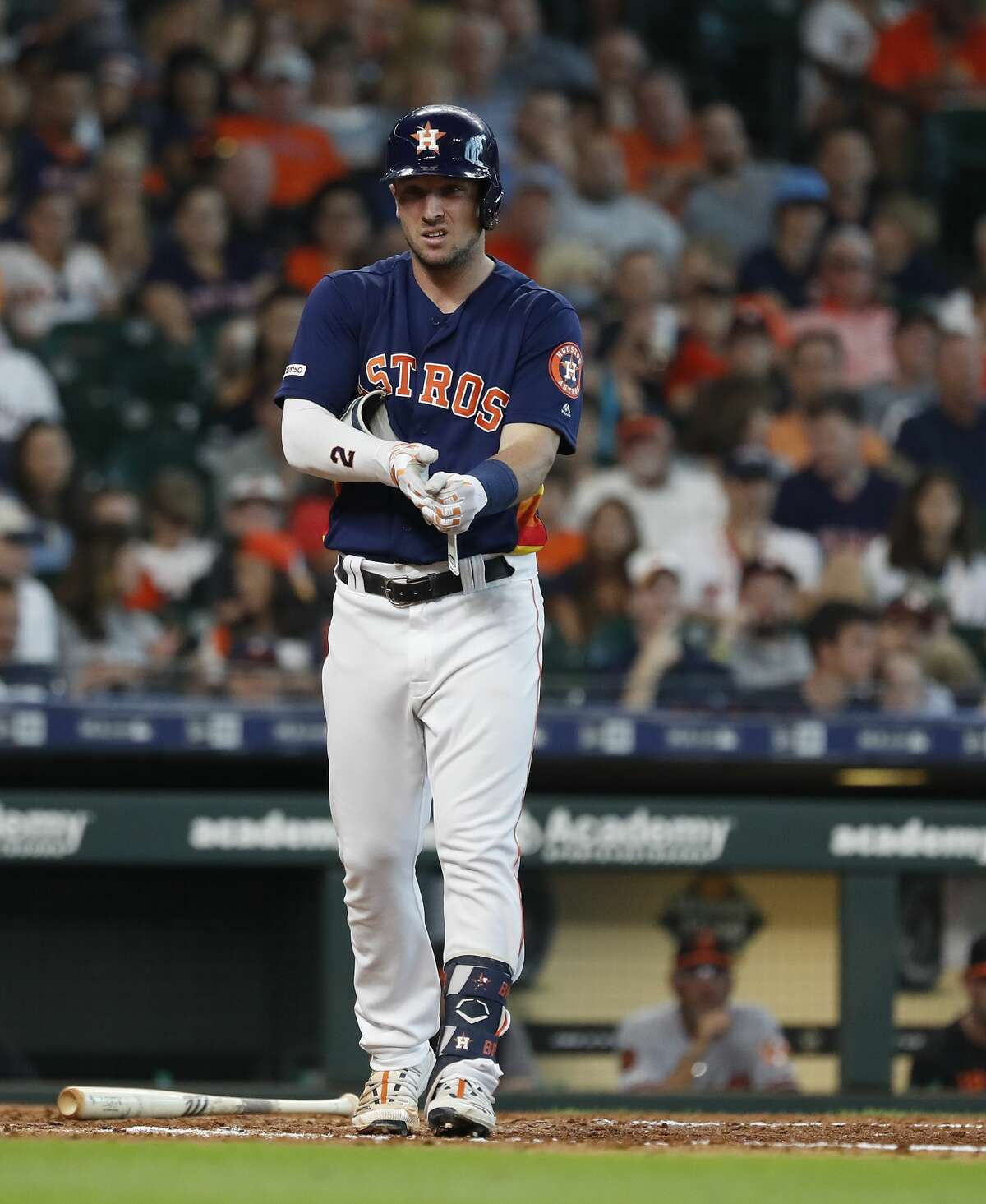 Houston Astros third baseman Alex Bregman (2) reacts after being hit by a pitch during the eighth inning of an MLB game at Minute Maid Park, Sunday, June 9, 2019, in Houston.