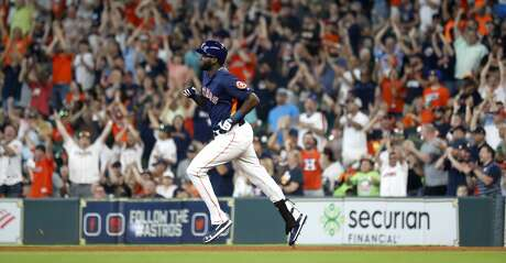 Houston Astros designated hitter Yordan Alvarez (44) runs the bases after hitting his first home run in his second at bat during the fourth inning of an MLB game at Minute Maid Park, Sunday, June 9, 2019, in Houston.