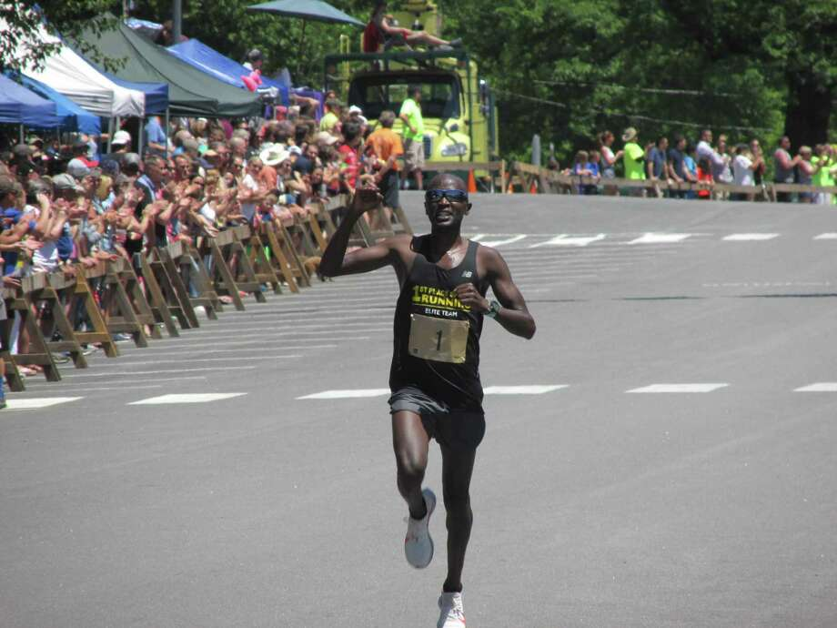 Kenya's Eluid (Hedly) Ngetich won the Litchfield Hills Road Race for the fifth time since 2013 on Sunday afternoon. Photo: Peter Wallace / For Hearst Connecticut Media