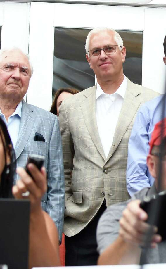 Trainer Todd Pletcher, center, listens to trainer Dale Romans and NYRA's Andy Sterling (not shown) following the post position draw for the 149th running of the Travers at Adelphi Hotel in Saratoga Springs, N.Y. on Tuesday, Aug. 21, 2018. (Jenn March, Special to The Times Union) Photo: Jenn March / © Jenn March 2018 © Albany Times Union 2018