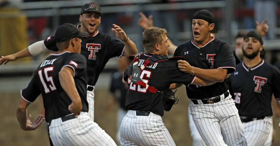 Texas Tech players celebrate after Game 3 of an NCAA college baseball super regional tournament against Oklahoma State, Sunday, June 9, 2019, in Lubbock, Texas. (AP Photo/Brad Tollefson) Photo: Brad Tollefson/Associated Press