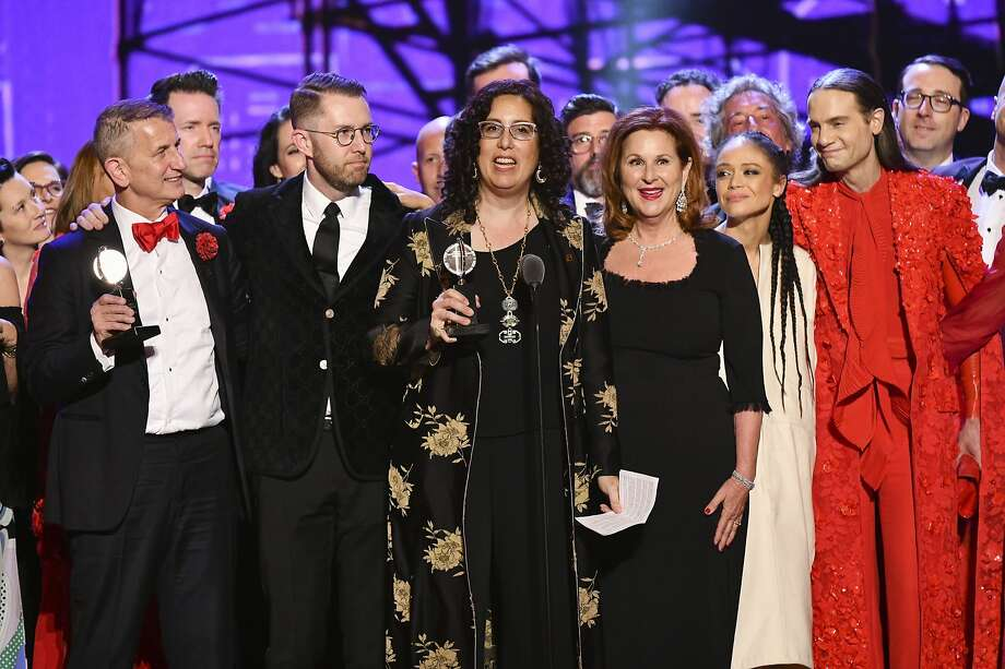 """Mara Isaacs, center, and """"The company of """"Hadestown,"""" accept the award for best musical at the 73rd annual Tony Awards at Radio City Music Hall on Sunday, June 9, 2019, in New York. (Photo by Charles Sykes/Invision/AP) Photo: Charles Sykes, Associated Press"""