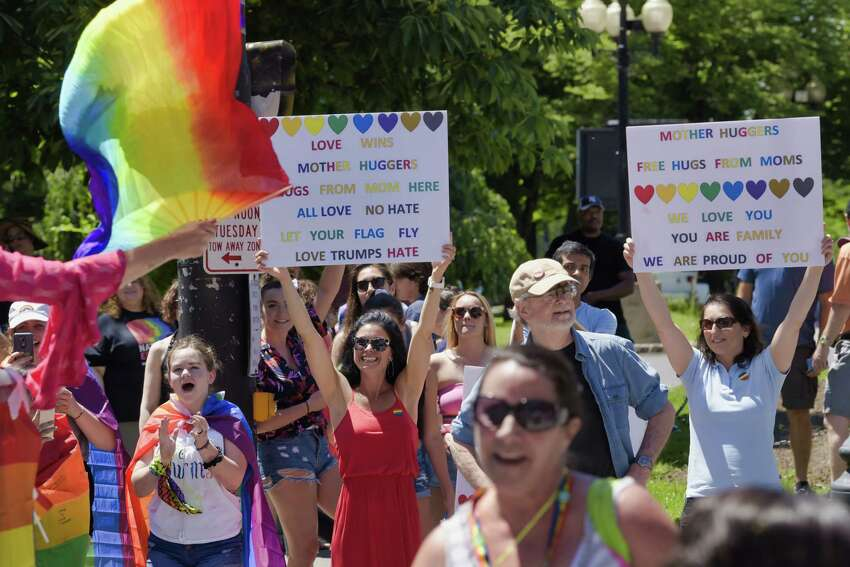 Spectators cheer on participants marching in the Capital Pride Parade on Sunday, June 9, 2019, in Albany, N.Y. (Paul Buckowski/Times Union)