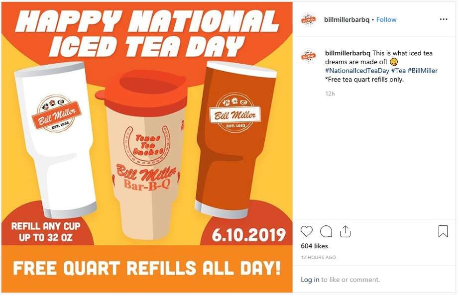 Bill Miller Bar-B-Q will give out free ice tea refills (tea quart only) for National Iced Tea Day. Photo: Instagram: @billmillerbarbq