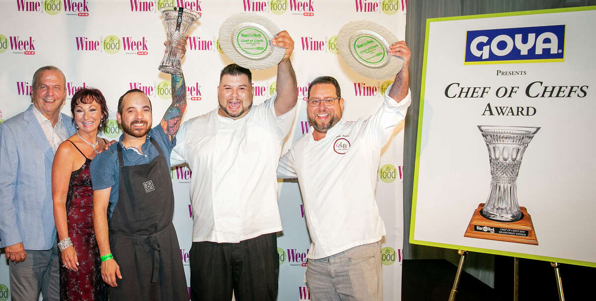 Winners of the chef competition at Wine & Food Week in the Woodlands were, from center, Brandon Silva of Wooster's Garden in first place, Jesse Cavazos of Nick's Fish Dive & Oyster Bar in the Woodlands in third place and Carlos Ramos of Latin Bites in second place. Clifton and Constance McDerby, at left, are the owners of Food & Vine Time Productions that produced the event.