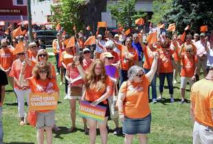 Participants in the 'Wear Orange' rally gather at Sherman Green Sunday.