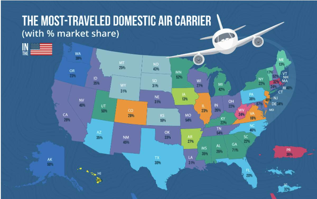 US states and their most used airlines-- see slideshow for full graphic
