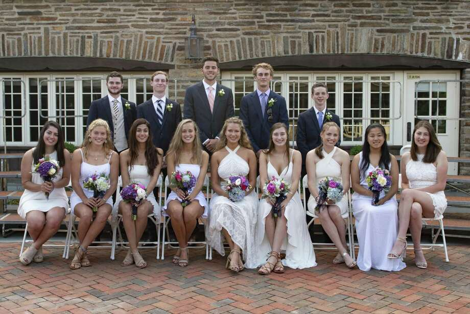 Fairfield/Southport residents who graduated from Greens Farms Academy, Westport, on June 6 were, bottom row from left,  Isabella Whelan, Lilah McCormick (valedictorian), Sophie Staeger, Alexandra Nesi, Lillian Breier, Kirwan Carey, Amy Petschek, Eva Zhang and Grace McGonagle; top row from left,  Quinn Mullineaux, Liam Foley, Greg Lawrence, Cole Prowitt-Smith, and Ethan Furman. Photo: Contributed Photo