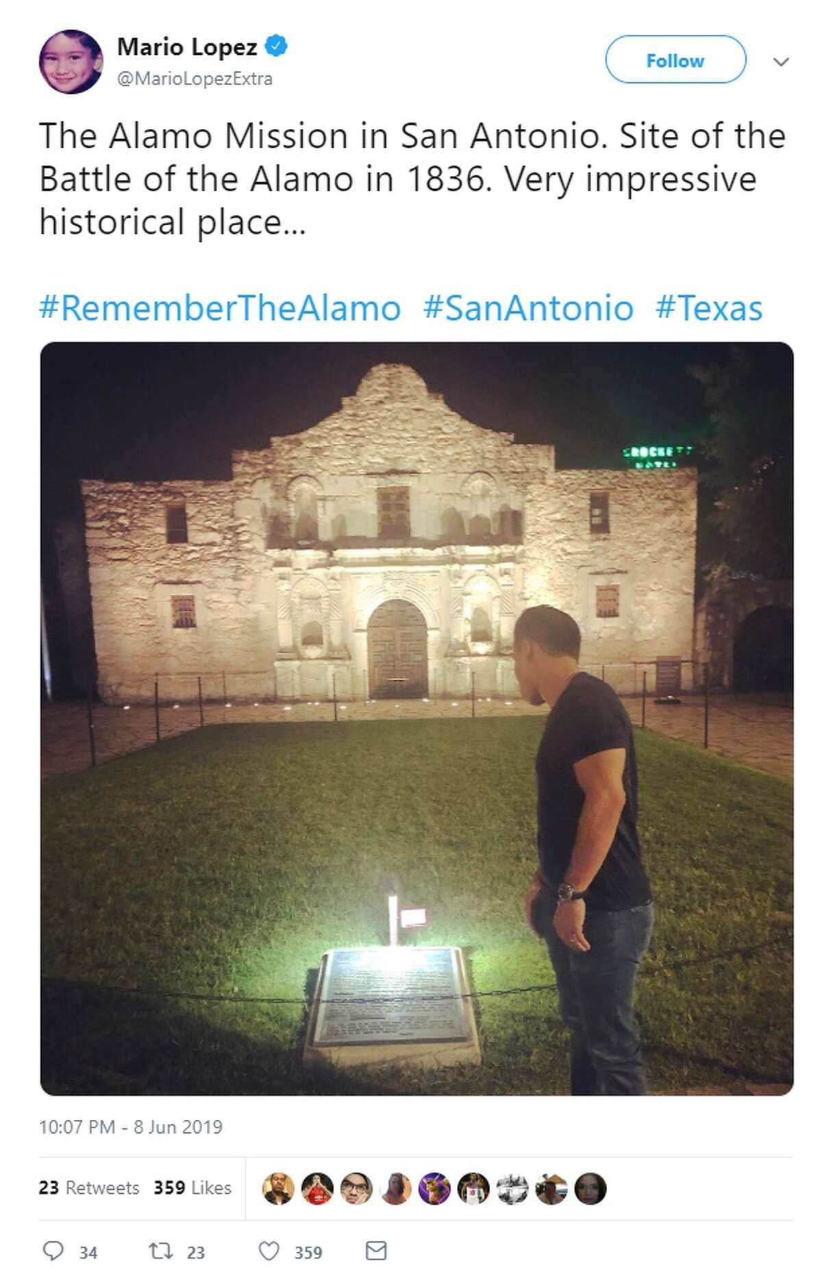 Mario Lopez posted about his visit at the Alamo on Saturday on Twitter.