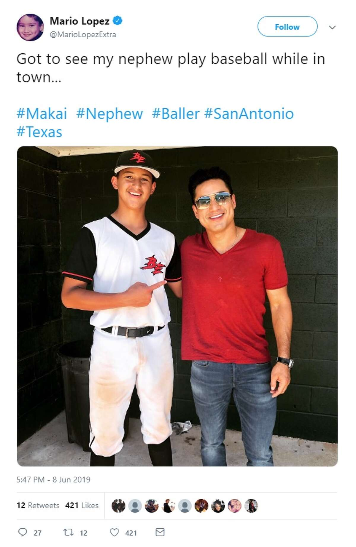 While in San Antonio, Mario Lopez tweeted about seeing his nephew play baseball.