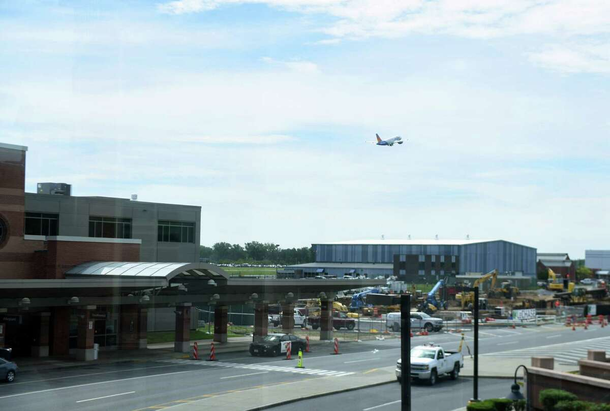 A plane departs from Albany International Airport on Monday, June 10, 2019, in Colonie, N.Y. (Catherine Rafferty/Times Union)
