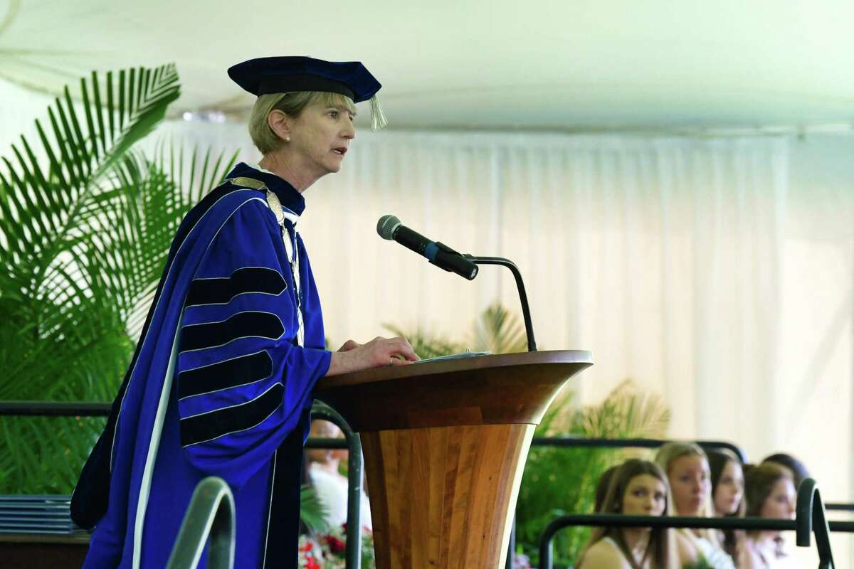 Kristina Johnson, chancellor of The State University of New York, delivers the commencement address during the Albany Academy for Girls graduation on Monday, June 10, 2019, in Albany, N.Y. (Paul Buckowski/Times Union)