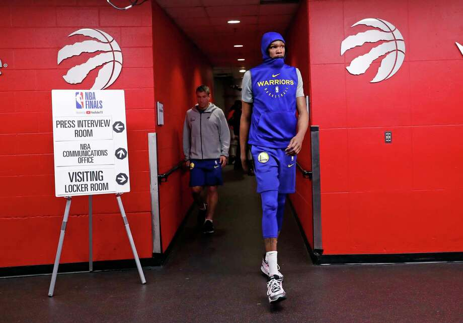 PHOTOS: Kevin Durant against the Rockets this year Golden State Warriors' Kevin Durant heads to the court during practice day in advance of NBA Finals' Game 5 at Scotiabank Arena in Toronto, Ontario, on Sunday, June 9, 2019. Photo: Scott Strazzante, The Chronicle / San Francisco Chronicle