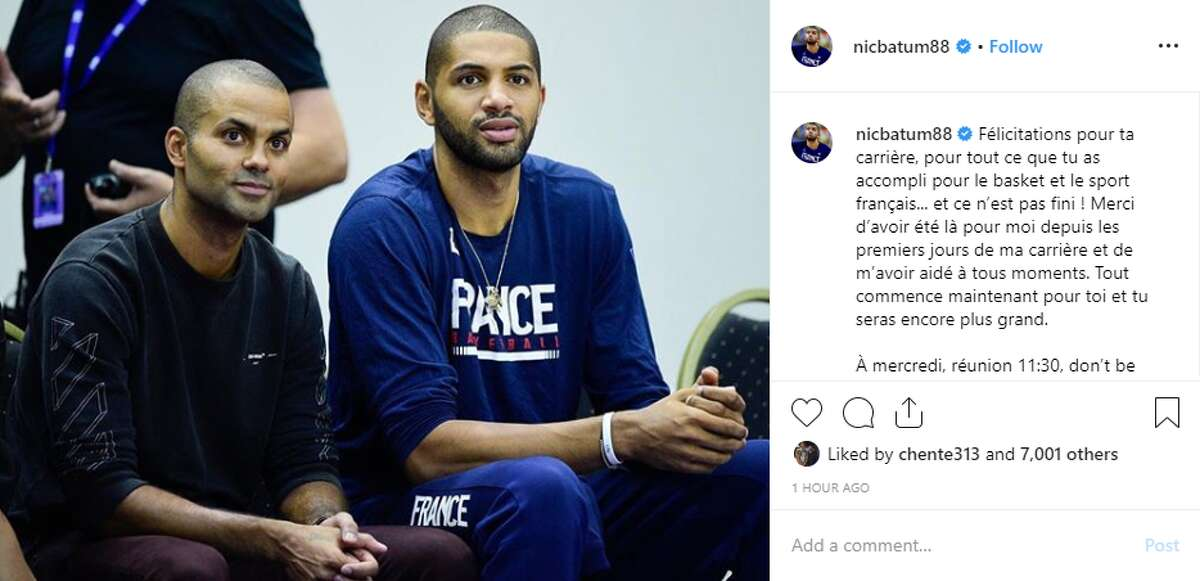 Nicolas Batum, who played with Parker on the French National Team and with him as Charlotte Hornet during his final NBA season, also gave his teammate a shoutout. He thanked Parker in French for
