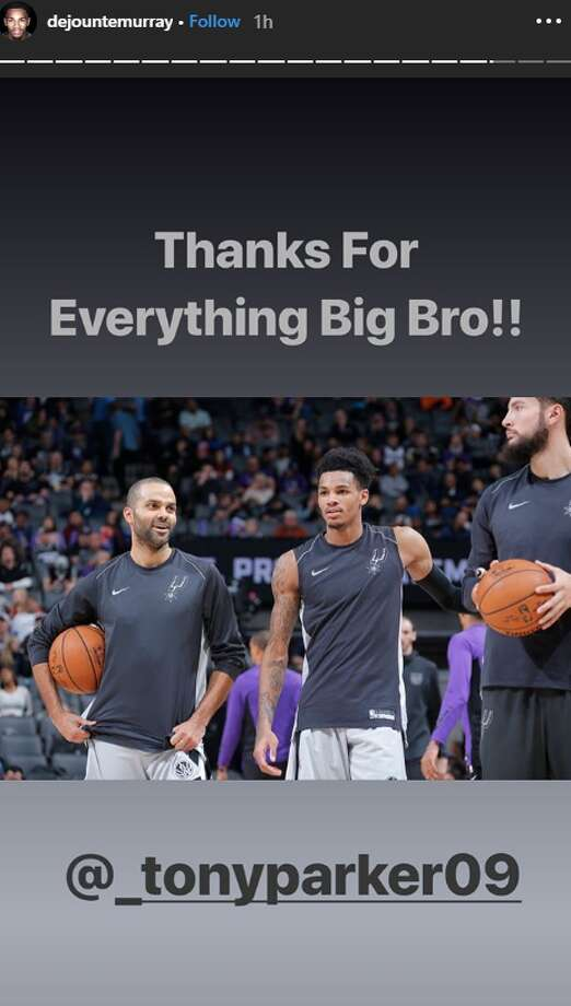 "Spurs point guard Dejounte Murray called Parker his ""big bro"" in a series of Instagram Story posts.