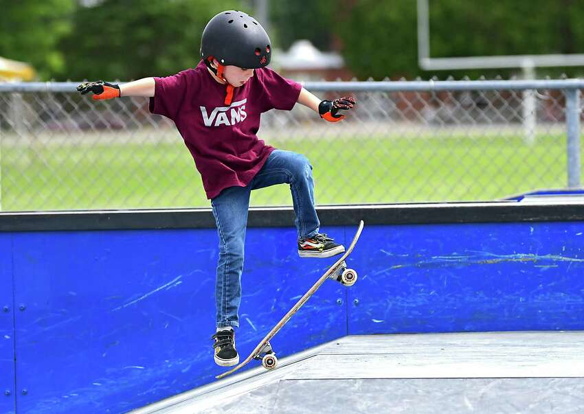 Wednesday will be a nice day to break out the skateboard. The sun will dominate the sky and the rain should hold off until Thursday. In this photograph, Noah Baldwin, 7, of Schuylerville enjoys skateboarding at the skate park in East Side Recreation Park on Monday, June 10, 2019 in Saratoga Springs, N.Y. (Lori Van Buren/Times Union)