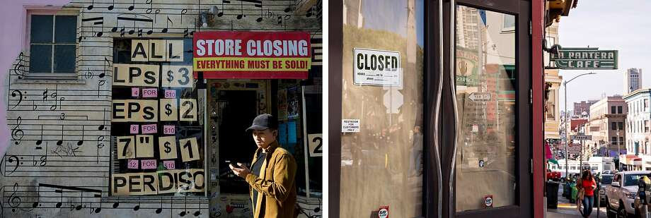 Left: A man walks past the closing 101 Music store along Green Street in the North Beach neighborhood of San Francisco, Calif. Friday, June 8, 2019. Right: Pedestrians walk past the shuttered Tamarind Hall on the corner of Grant Avenue and Vallejo Street in the North Beach neighborhood of San Francisco, Calif. Friday, June 8, 2019. Photo: Jessica Christian / The Chronicle