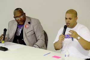 Port Arthur Mayor Derrick Freeman (right) and challenger Thurman Bartie respond to community questions during a town hall style forum at First Assembly of God church Thursday night. The Port Arthur mayor will be decided in the June 22nd runoff election. Photo taken Thursday, June 6, 2019 Kim Brent/The Enterprise