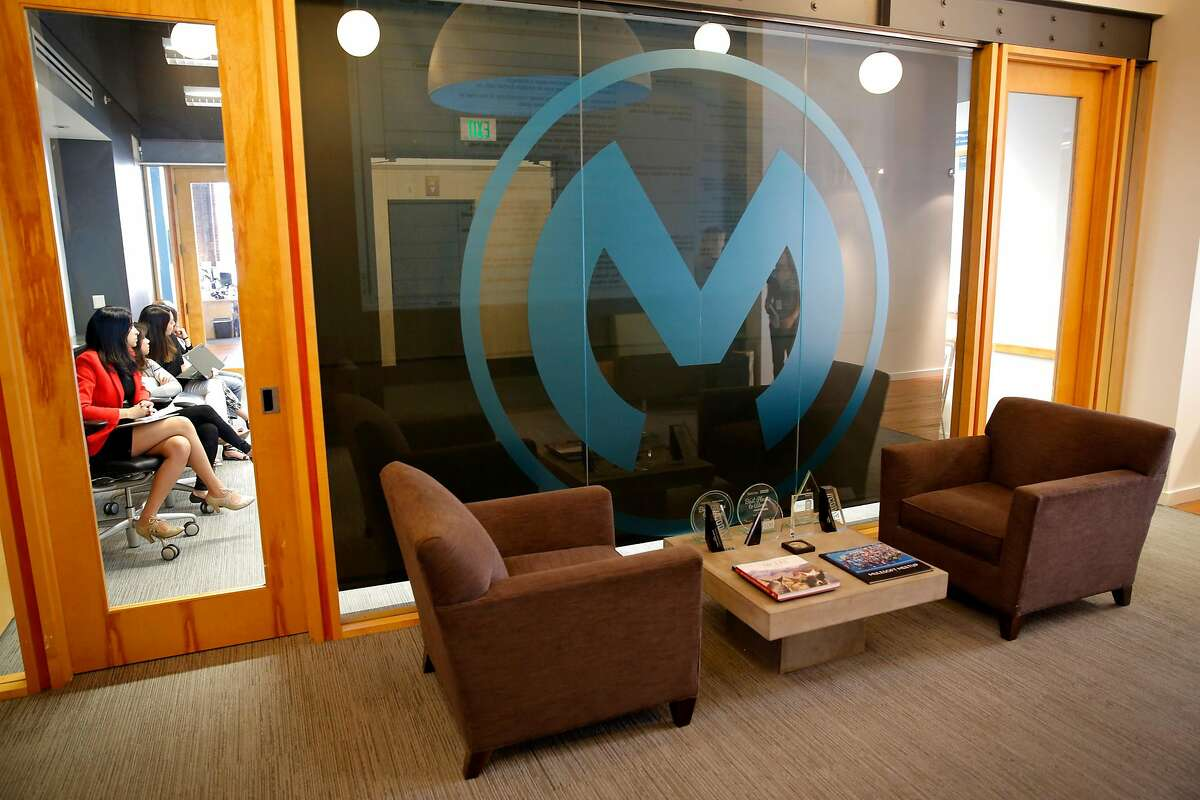 The MuleSoft logo people see as they exit the elevator for the MuleSoft offices in San Francisco, California, on Tuesday, June 30, 2015. Inside the logo is the outline of a mule's head and ears.