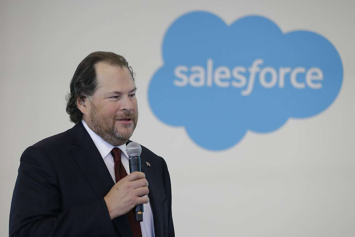 FILE - In this May 16, 2019 file photo, Salesforce chairman Marc Benioff speaks during a news conference, in Indianapolis. Salesforce is buying Tableau Software in an all-stock deal valued at $15.7 billion. The buyout is expected to close during Salesforce's fiscal 3rd quarter. (AP Photo/Darron Cummings, File)
