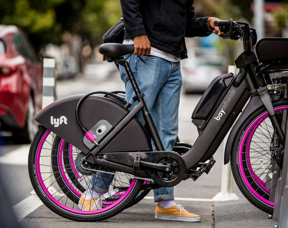 Lyft picked Bay Wheels as the new name for its street-rented bikes, formerly called Ford GoBikes. These bikes can be found at one of their hundreds of Bay Wheels stations, or locked up somewhere else within the designated service area. Photo: Lyft