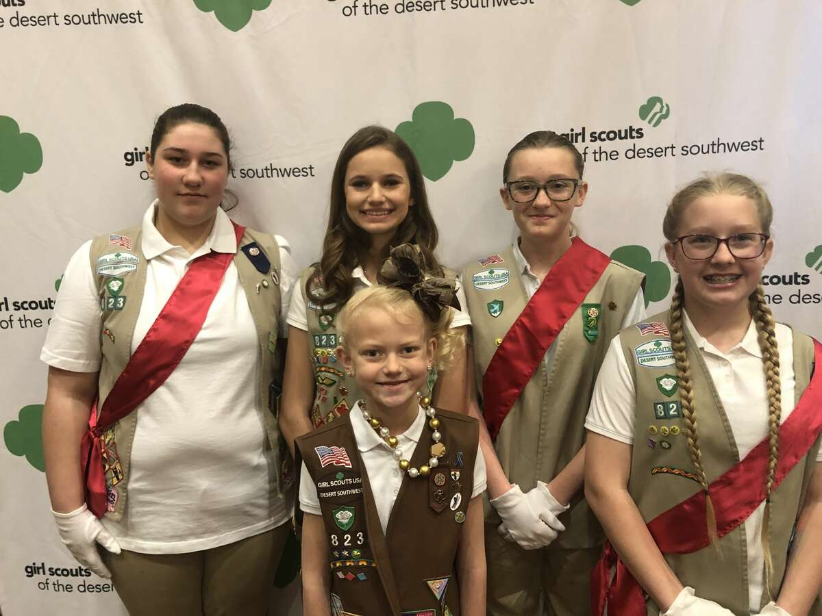 Girl Scouts: Hannah Ramsel,back from left, Madilynn Green, Makenzie Seidel; and Haleigh Green, front left, and Shaylee Barsic