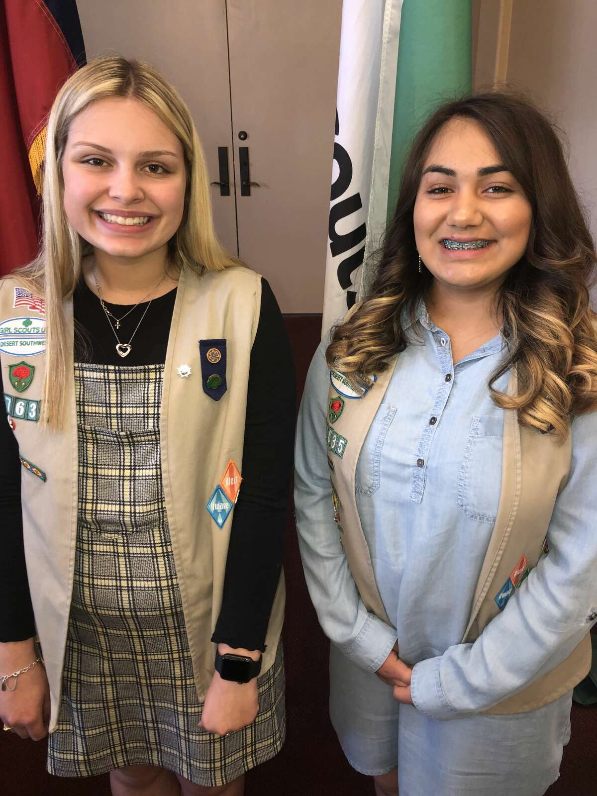 Girl Scouts: Serenity Wilson, left, and Vanessa Bustamante