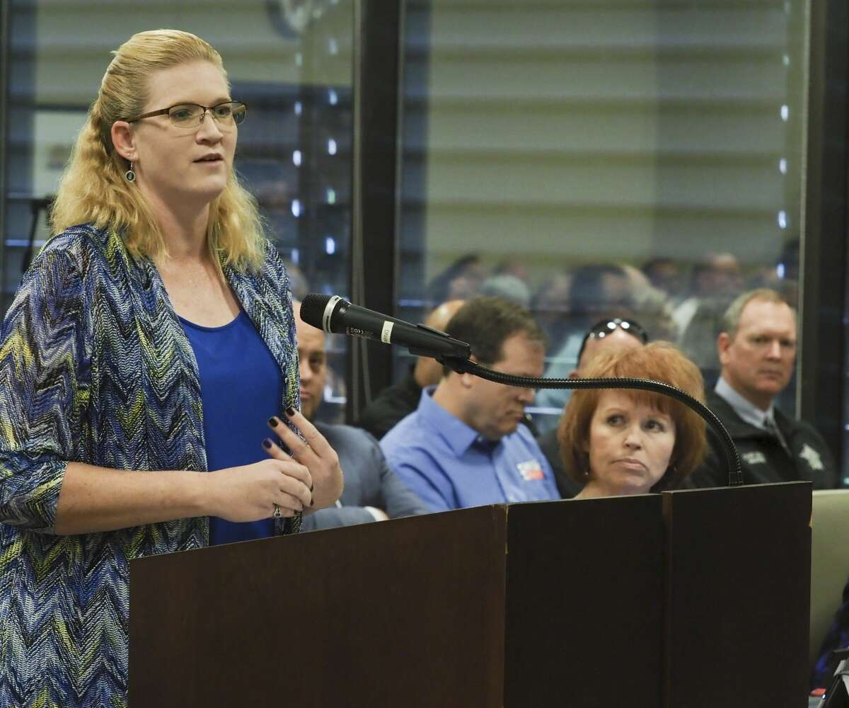 Jennifer Painter, daughter of the late Sheriff Gary Painter, voices her support of Chief Deputy Rory McKinney to be named interim Sheriff 06/10/19 at Commissioners Court. Tim Fischer/Reporter-Telegram