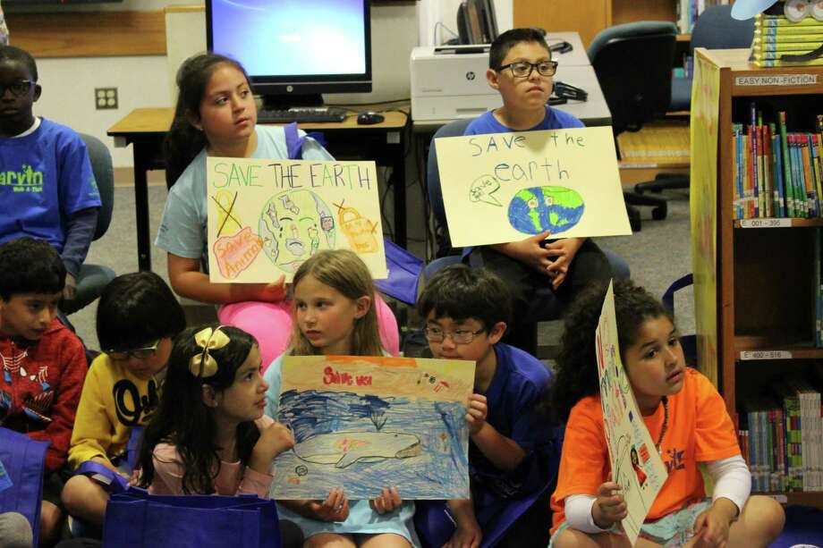 Third grade students at Marvin Elementary School made signs on Monday, June 10, 2019 to raise awareness about a citywide plastic bag ban scheduled to go into effect on July 8, 2019. Photo: Kelly Kultys / Hearst Connecticut Media