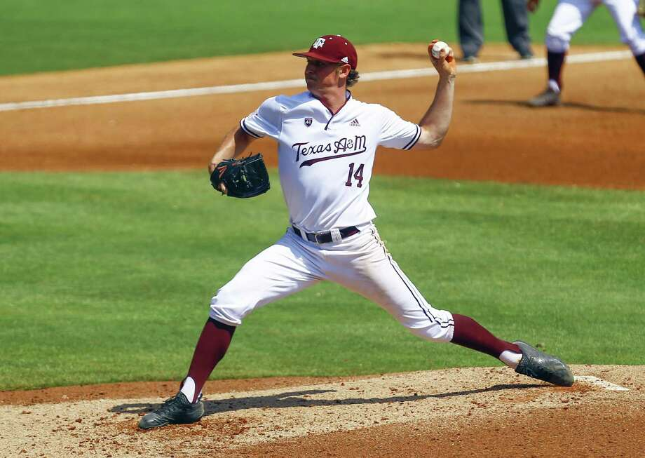 Texas A&M pitcher John Doxakis throws a pitch during the sixth inning of the Southeastern Conference tournament NCAA college baseball game against Mississippi, May 23, in Hoover, Ala. Photo: Butch Dill, FRE / Associated Press / Copyright 2019 The Associated Press. All rights reserved.